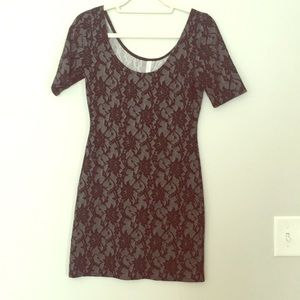 Black and Gray Lace Print Bodycon Dress